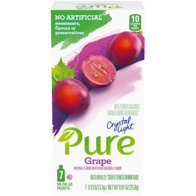 Crystal Light Pure Grape Drink Mix, 7 - 0.13 oz Packets