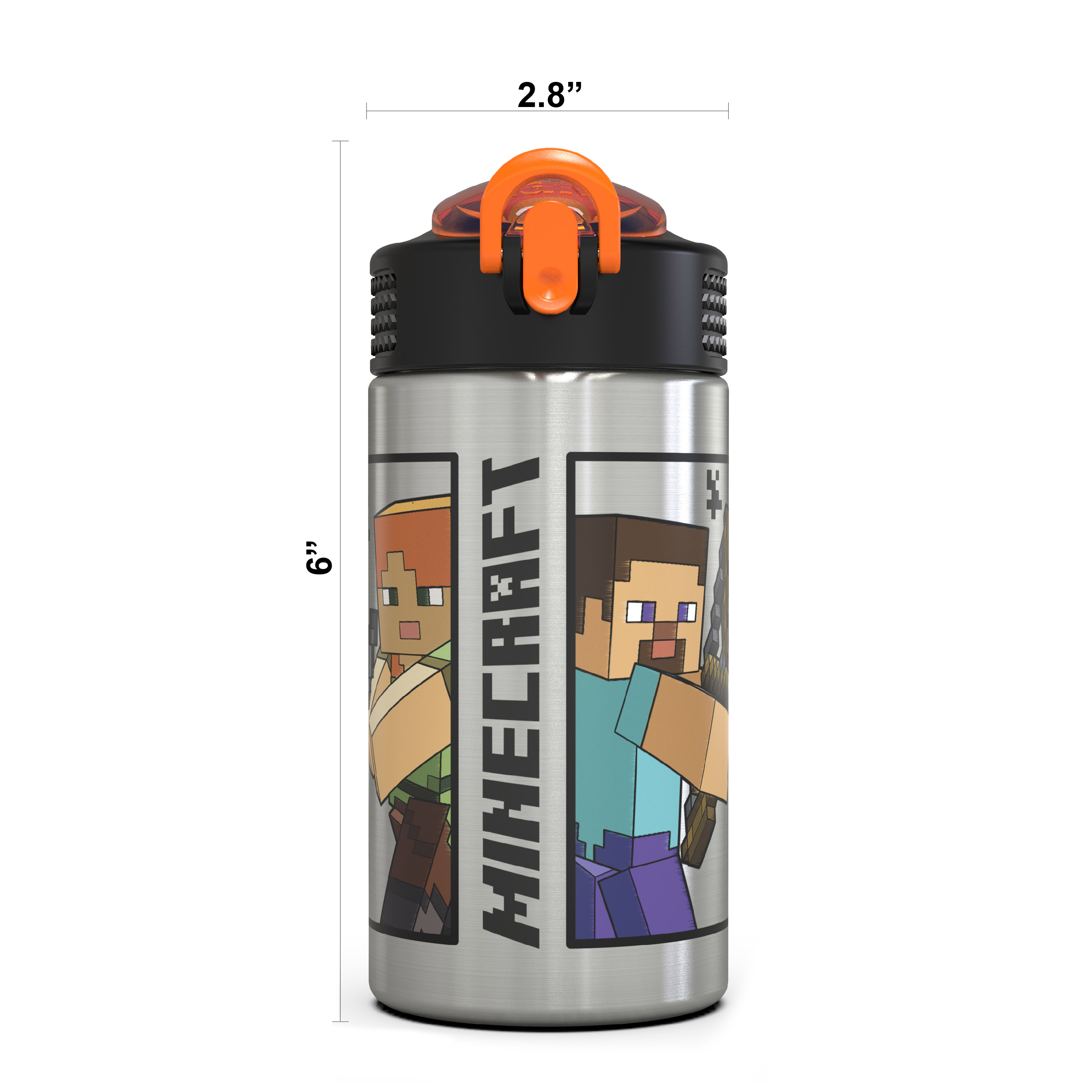Minecraft 15.5 ounce Water Bottle, Steve and Alex slideshow image 12