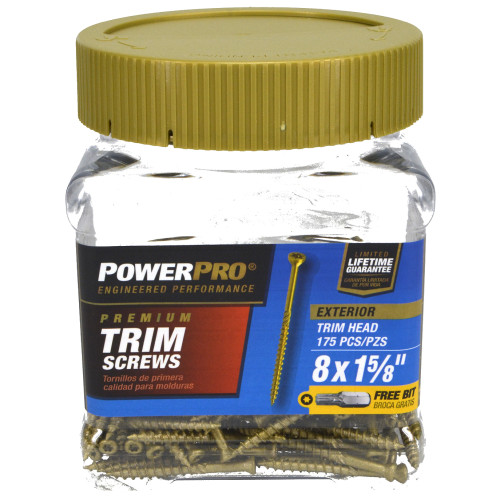 Power Pro Premium Exterior Trim Screw #8 x 1-5/8