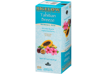 Right facing of Bigelow Tahitian Breeze Herbal Tea box