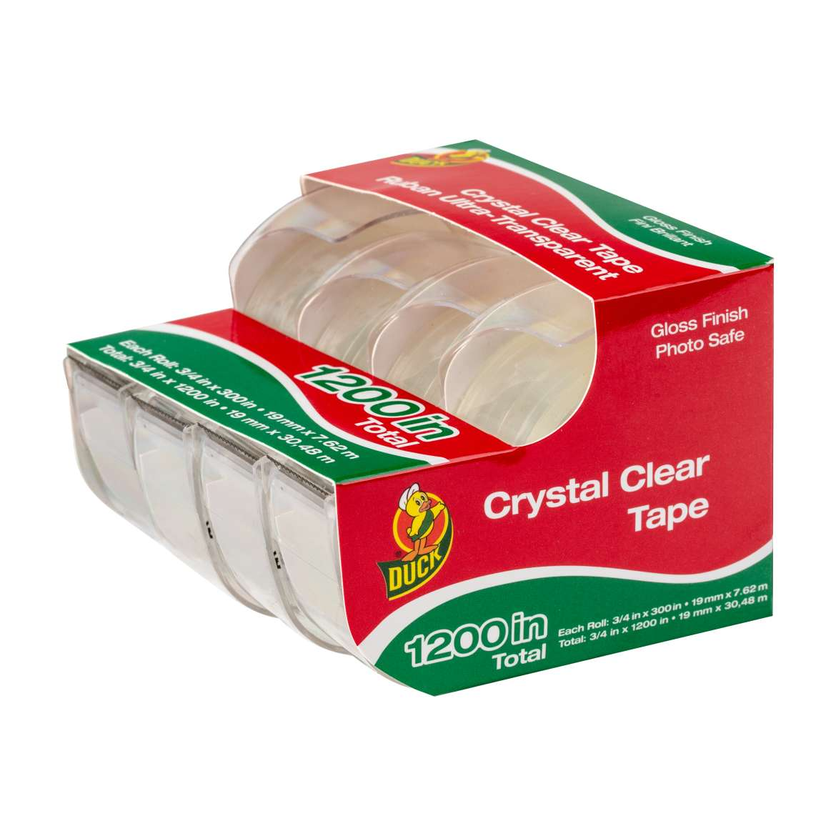 Duck® Brand Crystal Clear Invisible Tape - Crystal Clear, 4 pk, .75 in. x 300 in. Image