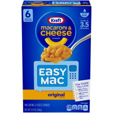 Kraft Easy Mac Original Flavor Macaroni & Cheese Dinner, 6 Packets, 12.9 oz Box