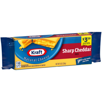 Kraft Sharp Natural Cheddar Cheese Block 8 oz Wrapper