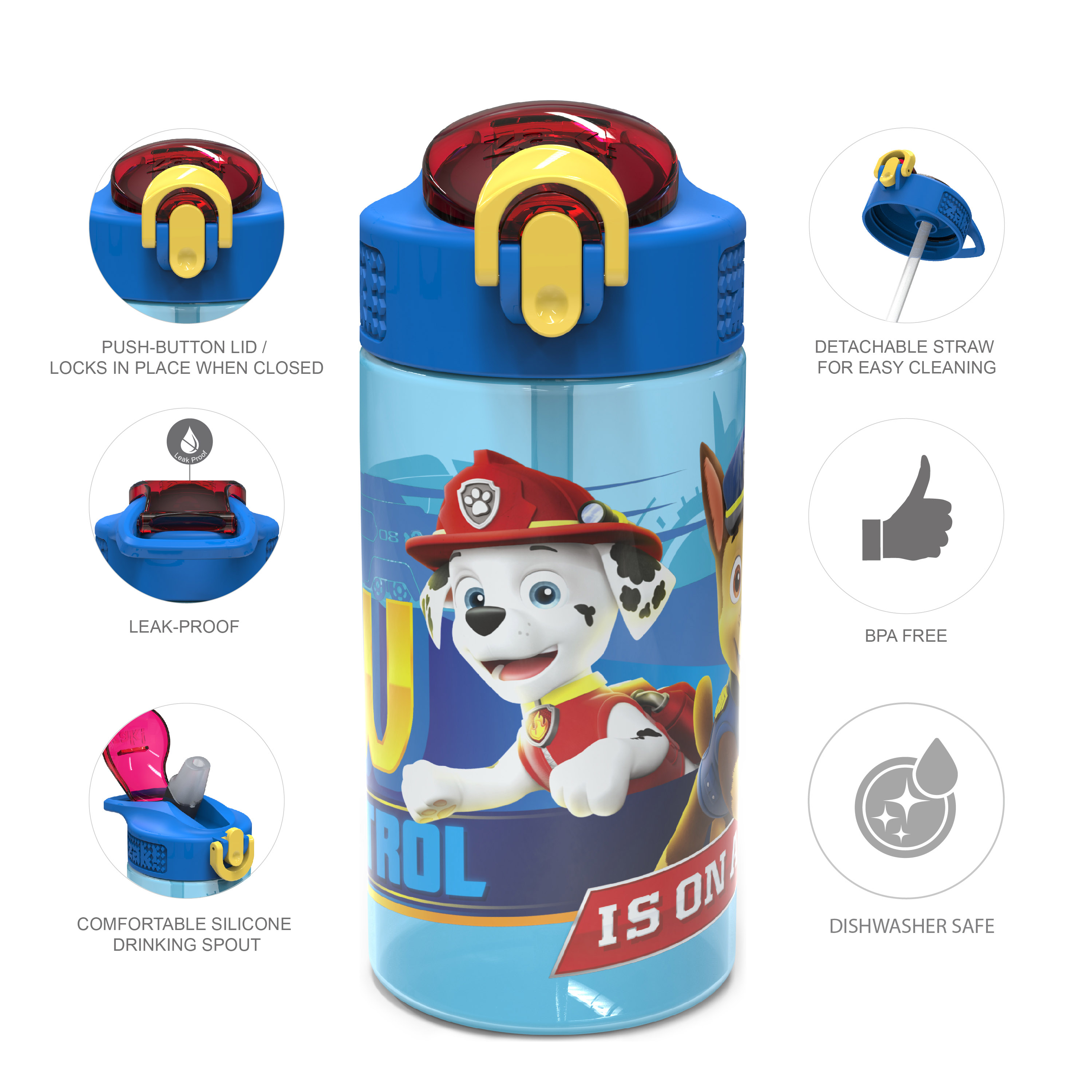 Paw Patrol 16 ounce Reusable Plastic Water Bottle with Straw, Marshall, 2-piece set slideshow image 9