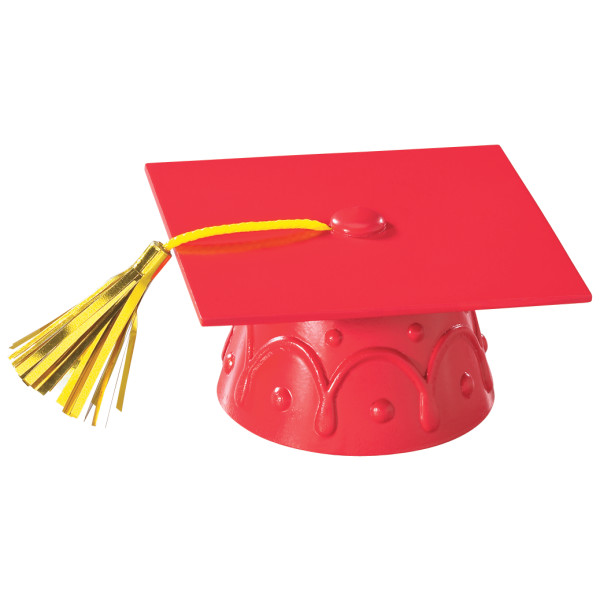 Red Grad Cap with Tassels Layon