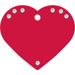 Red with Clear Crystals Large Heart Quick-Tag