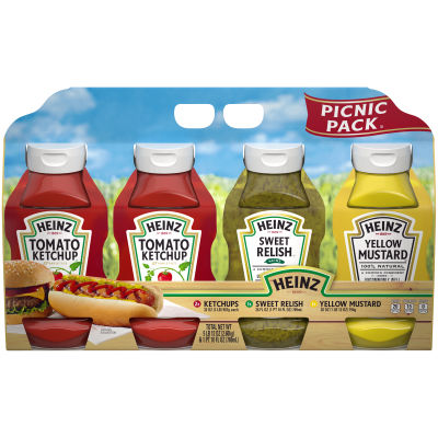 Heinz Picnic Pack Ketchup, Sweet Relish & Yellow Mustard 57.5 oz Multipack