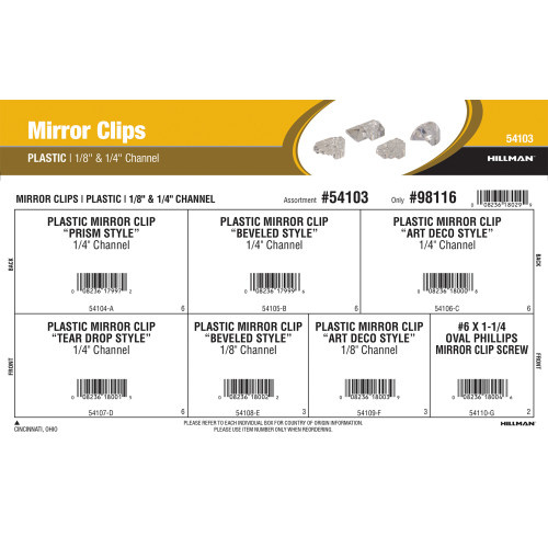 Plastic Mirror Clips Assortment (1/8