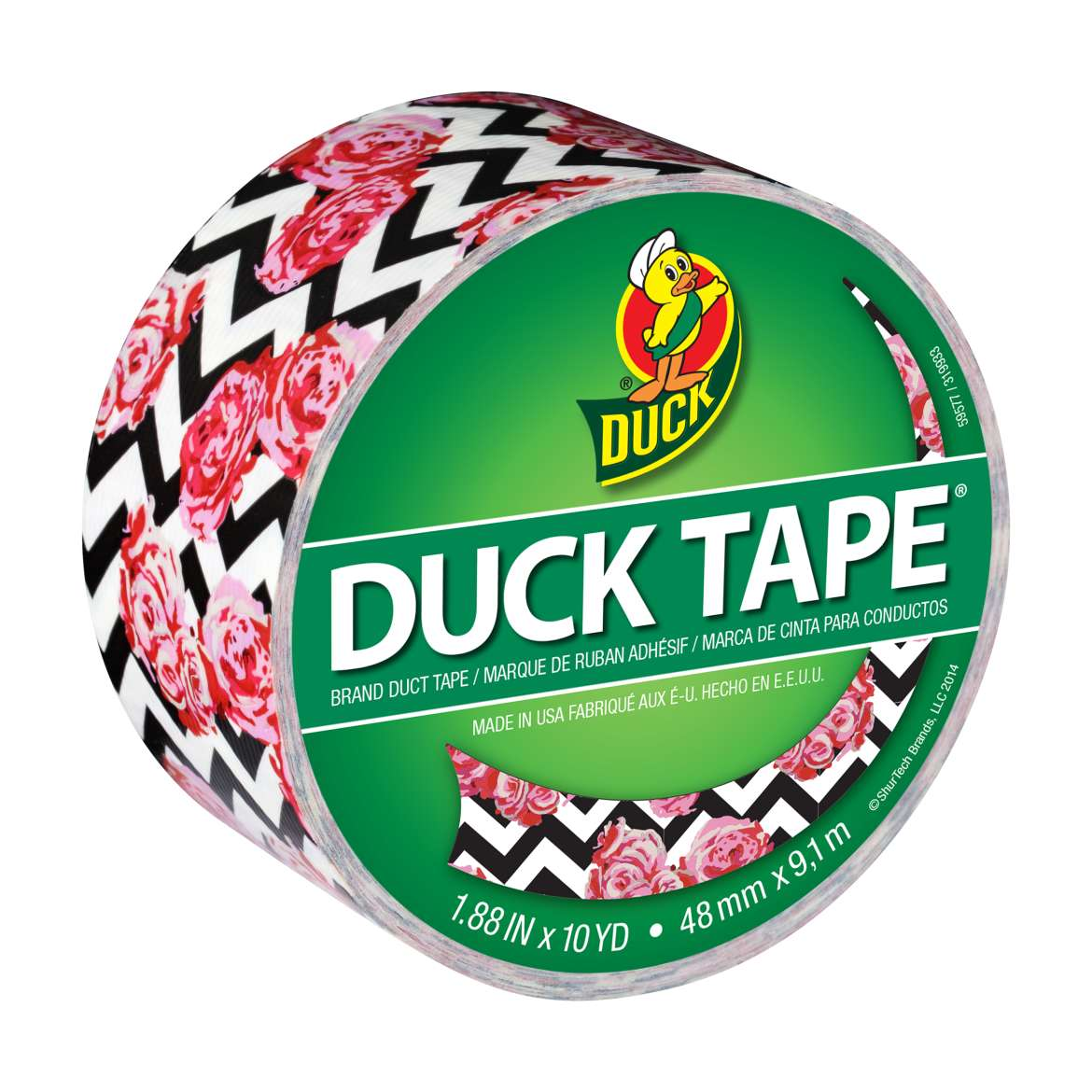 Printed Duck Tape® Brand Duct Tape - Flower Chevron, 1.88 in. x 10 yd. Image