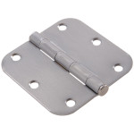 "Hardware Essentials 5/8"" Round Corner Satin Chrome Door Hinges (3-1/2"")"