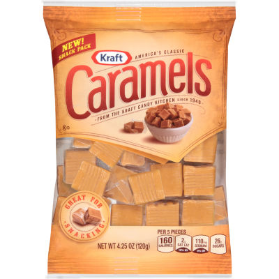 Kraft Vanilla Caramels Snack Bags 4.25 oz Wrapper
