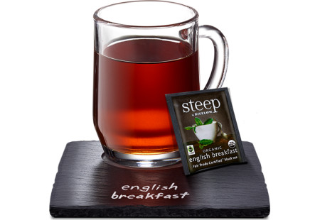 Cup of steep by bigelow organic english breakfast tea