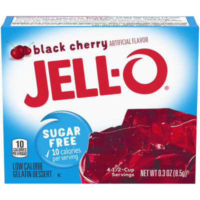 Jell-O Sugar Free Black Cherry Instant Gelatin Mix 0.3 oz Box