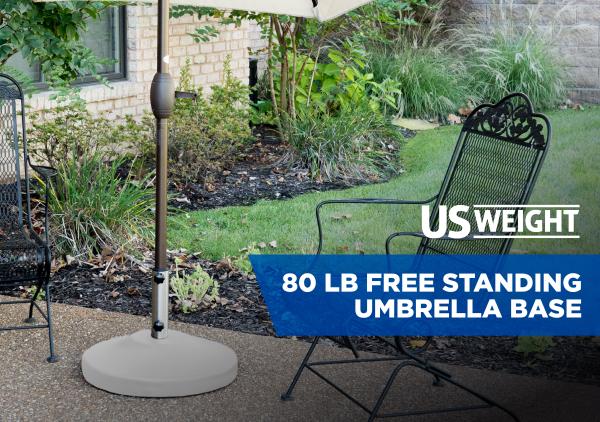 80 lb Free Standing Umbrella Base - White 2