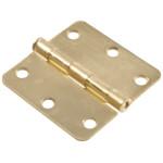 """Hardware Essentials 1/4"""" Round Corner Satin Brass Door Hinges (3"""")"""