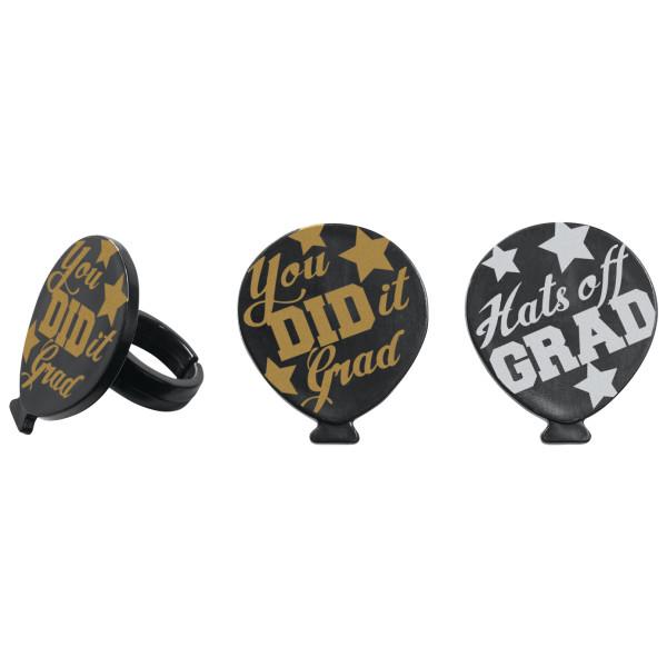 Grad Balloon Cupcake Rings