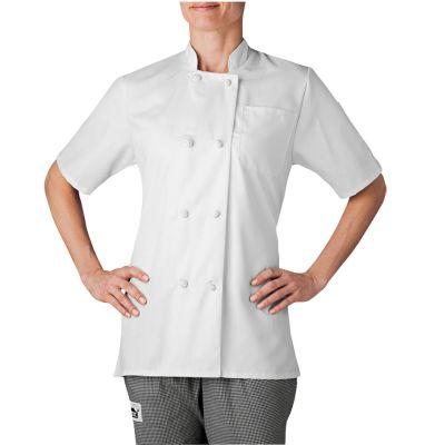 Womens Slim Short Sleeve Essential Cloth Knot Chef Coat-