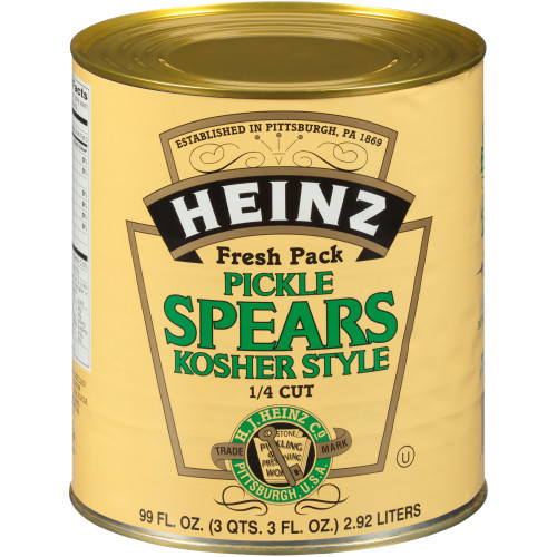 HEINZ Dill Pickle 1/4 inch Spears #10 Can, 99 fl. oz. (Pack of 6)