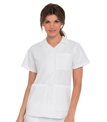 Landau Essentials Button Down Scrub Top for Women: Classic Relaxed Fit, Notched Collar, 3 Pockets, Medical 8059-