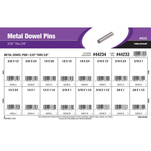 Metal Dowel Pins Assortment (3/32