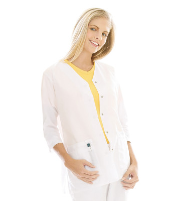 Landau Essentials Snap Front Scrub Jacket for Women: Classic Relaxed Fit, V-Neck, 3/4 Sleeve, 8401-