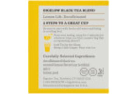 Ingredient panel of Lemon Lift Decaf Tea box of 20 tea bags