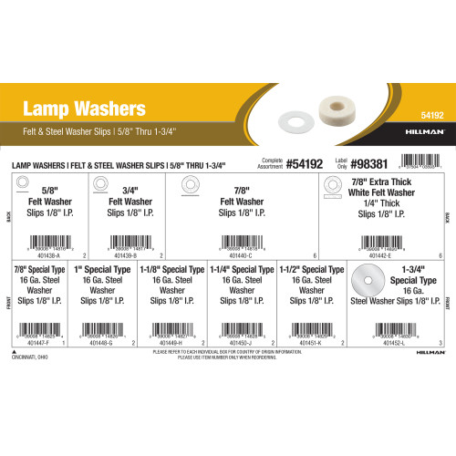 Lamp Washers Assortment (5/8
