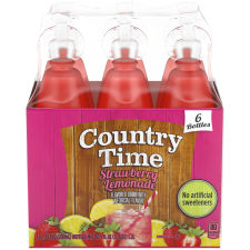 Country Time Strawberry Lemonade Flavored Drink, 6 - 6.75 fl oz Bottles