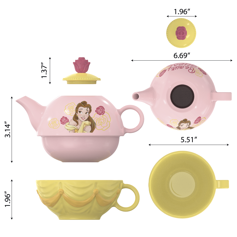 Disney Princess Sculpted Ceramic Tea Set, Princess Belle, 4-piece set slideshow image 2