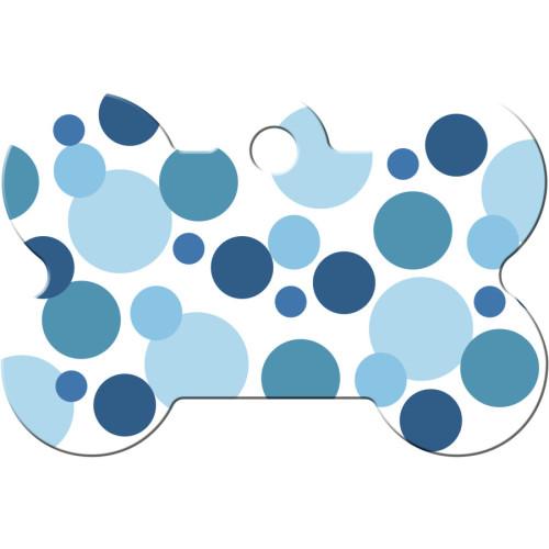 Blue Polka Dots Large Bone Quick-Tag 5 Pack