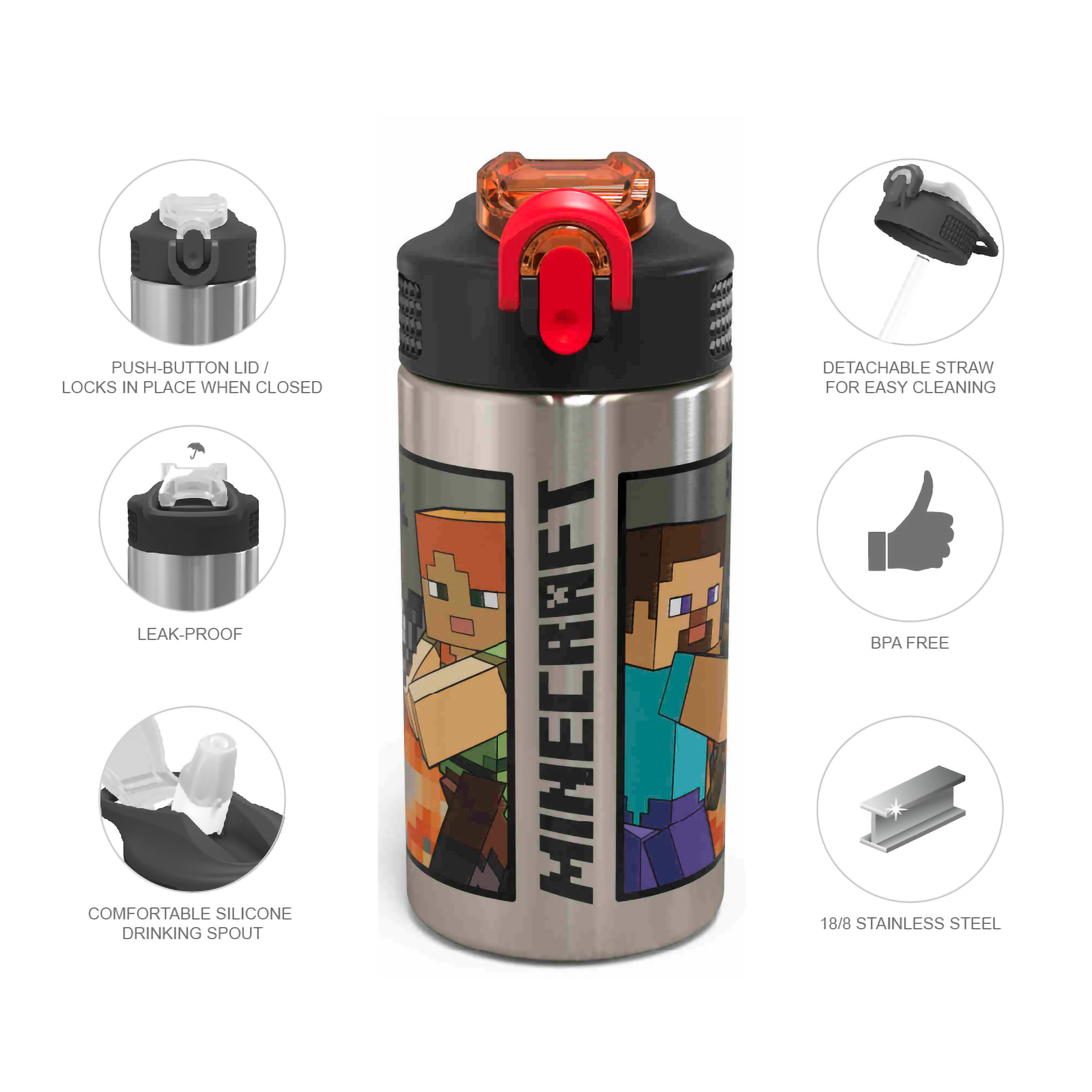 Minecraft 15.5 ounce Water Bottle, Steve and Alex slideshow image 8