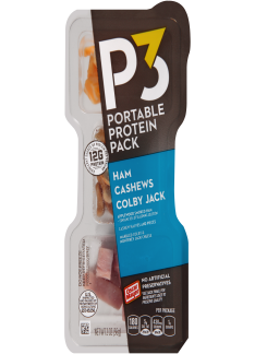 Oscar Mayer P3 Smoked Ham, Colby & Monterey Jack Cheese & Cashews Portable Protein Pack Tray, 2 oz