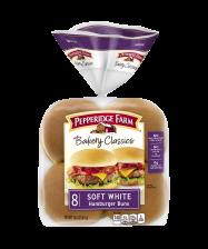 Pepperidge Farm® Soft White Hamburger Buns, split and toasted