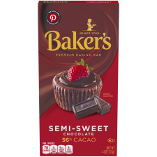 Baker's Premium Semi-Sweet Chocolate Baking Bar 4 oz Box