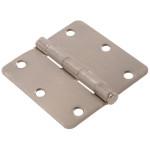 """Hardware Essentials 1/4"""" Round Corner Satin Nickel Door Hinges (3-1/2"""")"""
