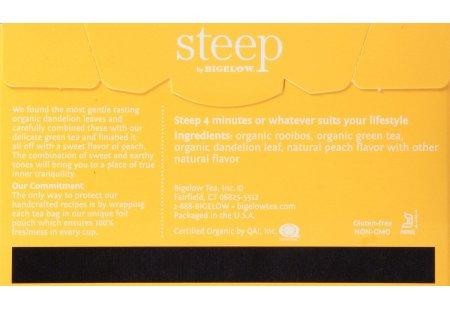 Back of steep by bigelow organic dandelion and peach rooibos and green tea box