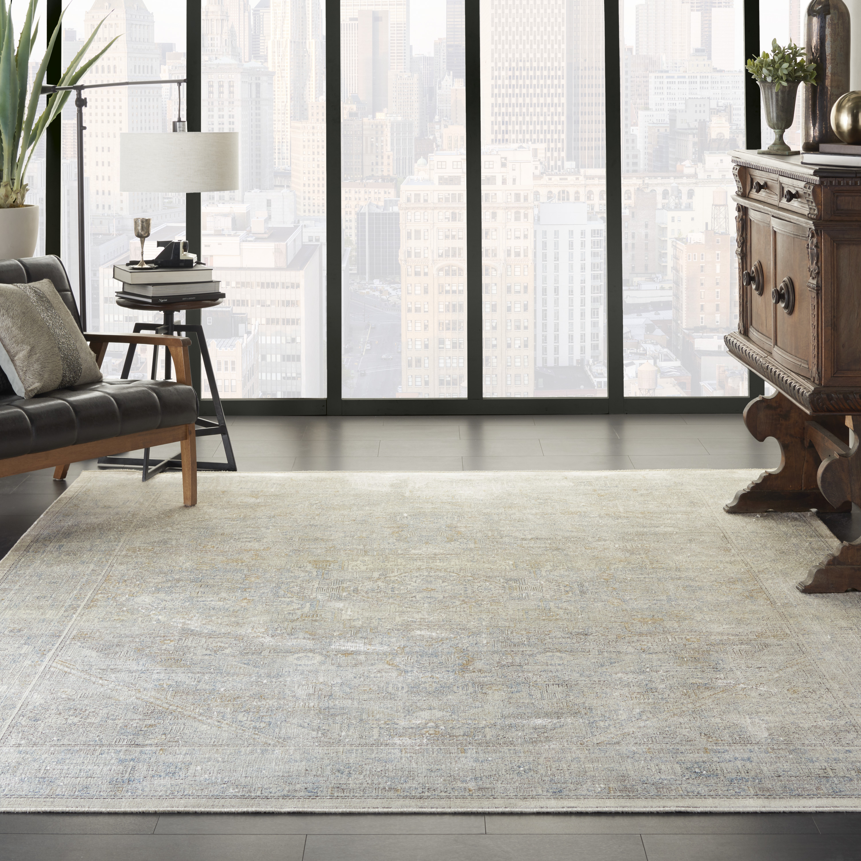 Nourison Starry Nights STN02 Cream Grey Rug