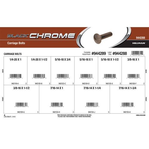 Black Chrome Carriage Bolts Assortment