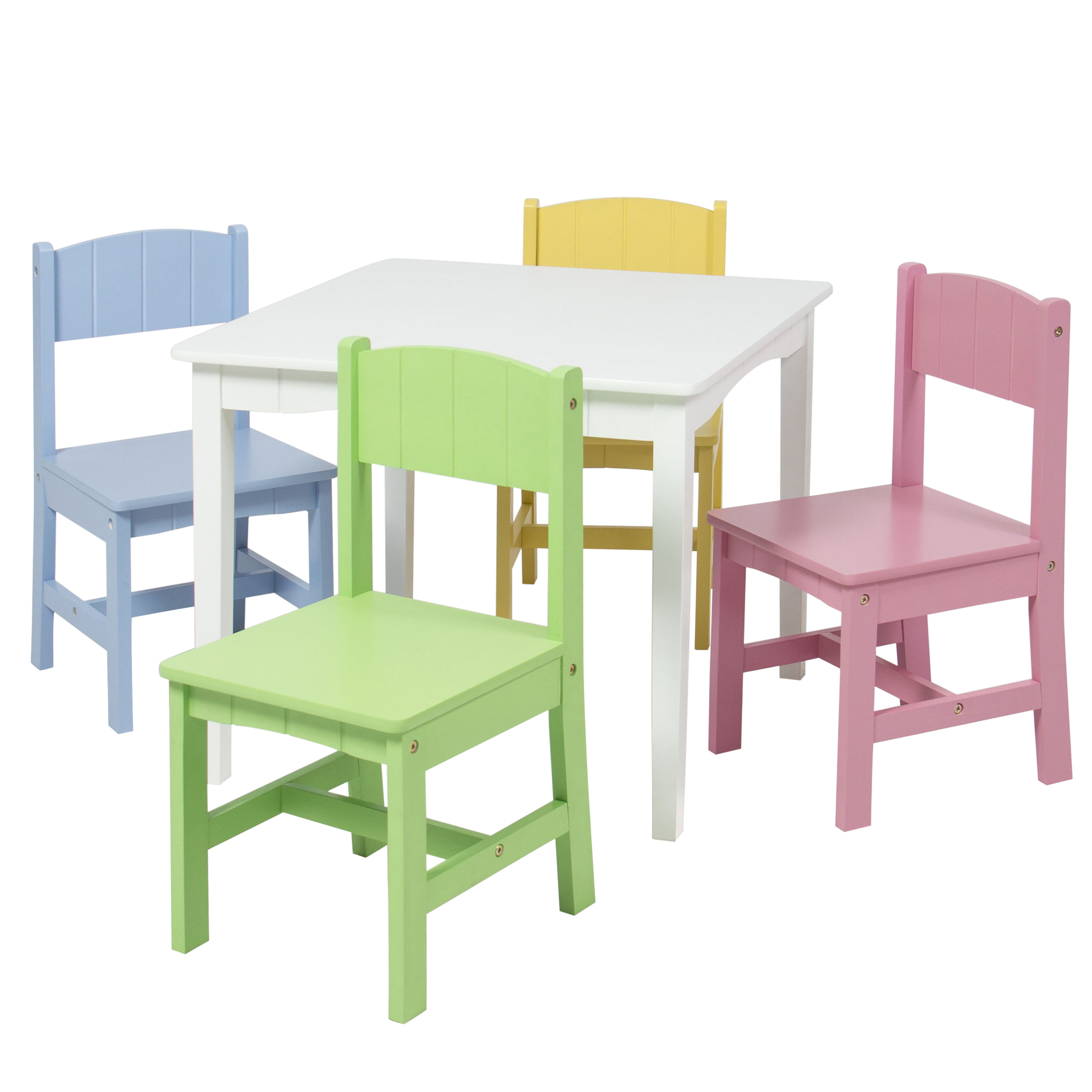 Wooden kids table and 4 chairs set furniture play area school home ebay Wooden childrens furniture