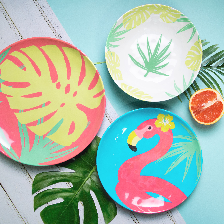 Summer Prints Dinnerware Set, Flamingo, 12-piece set slideshow image 2