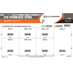 "Marine-Grade #316 Stainless Steel Hex-Head Lag Screws Assortment (5/16"")"