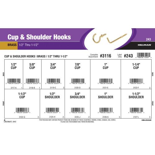 Brass-plated Cup & Shoulder Hooks Assortment (1/2