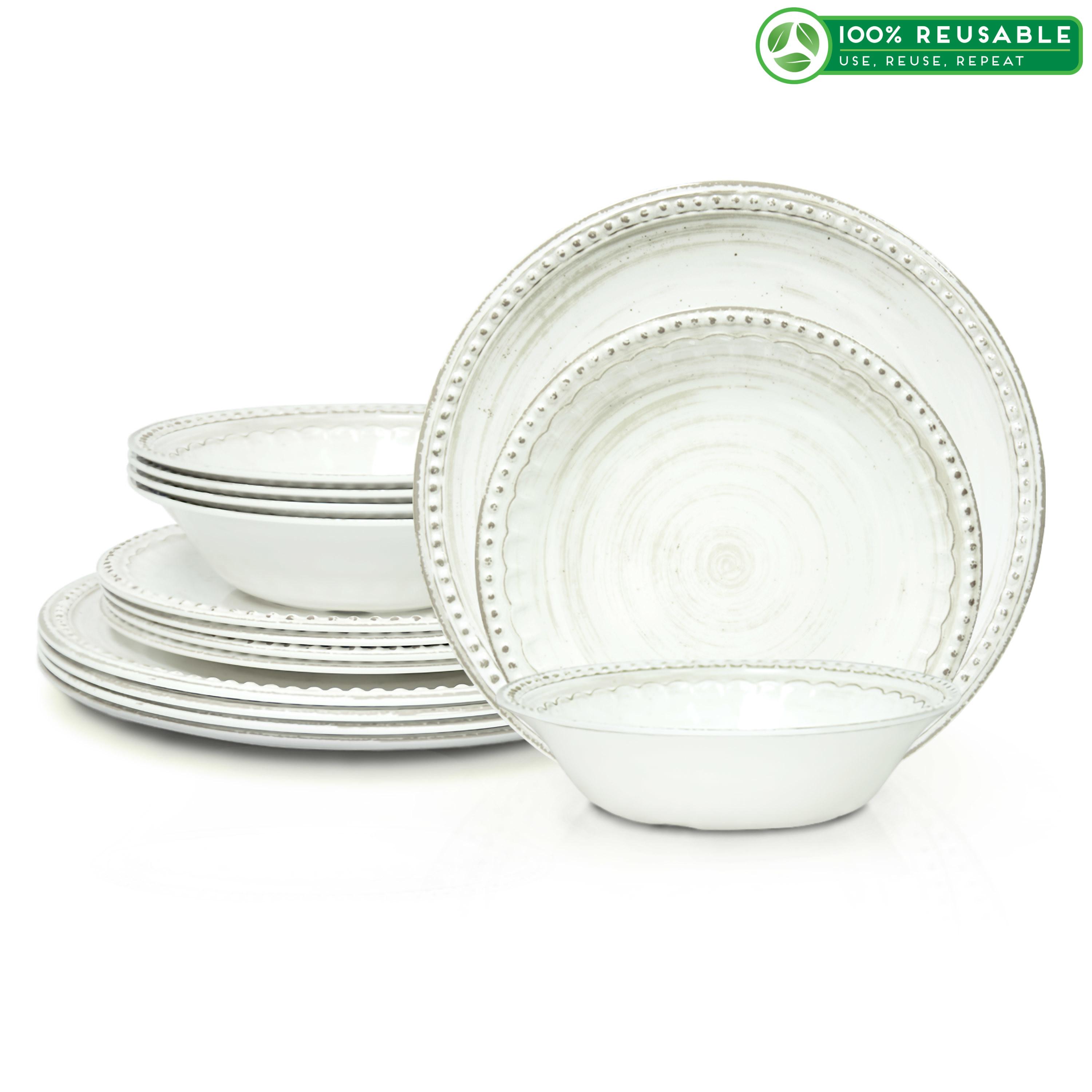 French Country Plate & Bowl Sets, White, 12-piece set slideshow image 1