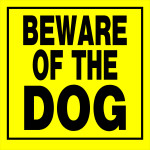 Yellow Beware of Dog Sign
