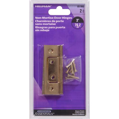 Hardware Essentials Satin Brass Surface Mount Non Mortise 3