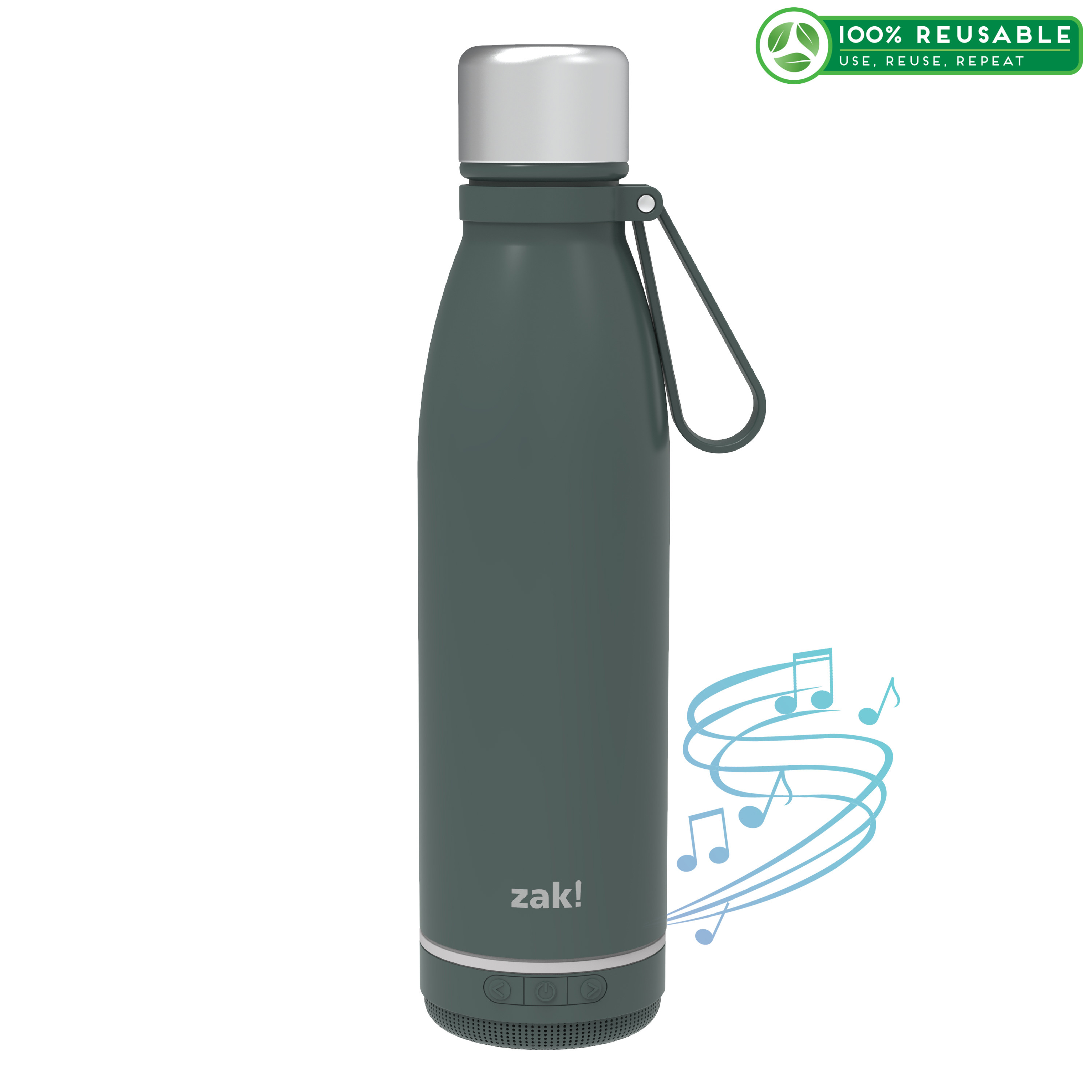 Zak Play 17.5 ounce Stainless Steel Tumbler with Bluetooth Speaker, Gray slideshow image 1