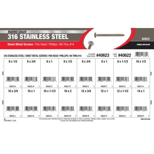 Marine-Grade #316 Stainless Steel Phillips Pan Sheet Metal Screws Assortment (#6 thru #14)