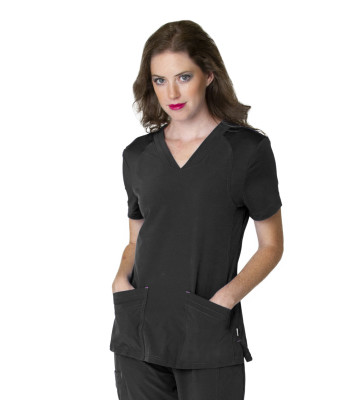 Smitten Miracle Scrub Top for Women: 2 Pocket, Contemporary Slim Fit, Super Stretch, V-Neck Medical Scrubs S101005-