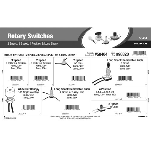 Rotary Switches Assortment (2-Speed, 3-Speed, 4-Position, & Long Shank)
