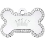 Crown with Clear Crystals Chrome Large Bone Quick-Tag